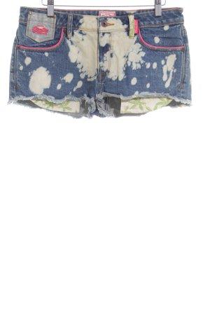 Superdry Hot Pants blau-creme Farbtupfermuster Beach-Look