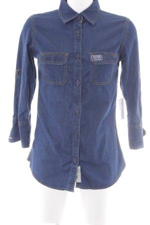 Superdry Blouse en jean bleu foncé style décontracté