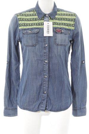 Superdry Chemise en jean bleu acier-vert prairie motif rayé style décontracté