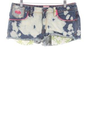 Superdry Jeansshorts blau-hellgrau Schriftzug gedruckt Street-Fashion-Look