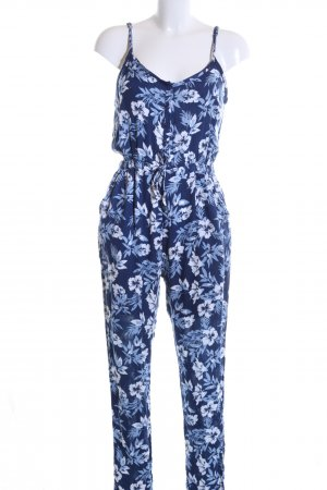 Superdry Jumpsuit blau-weiß Blumenmuster Casual-Look