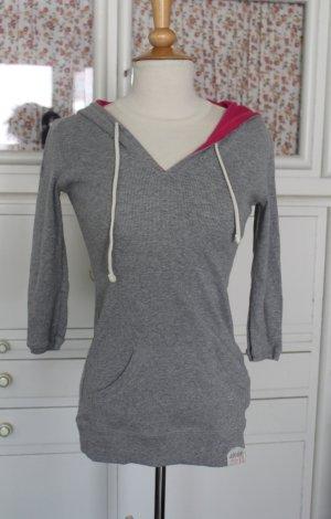 Superdry Kapuzen-Feinripp-Shirt mit 3/4-Ärmeln, neu und ungetragen