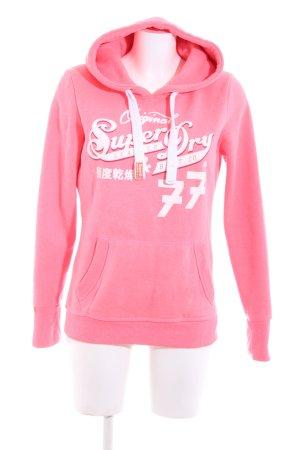 Superdry Jersey con capucha rosa-blanco letras impresas look casual