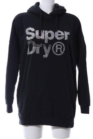 Superdry Jersey con capucha negro letras bordadas look casual
