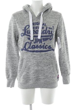 Superdry Jersey con capucha gris-azul letras impresas brillante