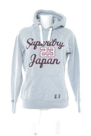 Superdry Jersey con capucha gris claro-rojo zarzamora letras bordadas