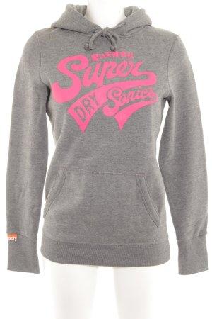 Superdry Jersey con capucha gris claro-rosa neón estampado temático