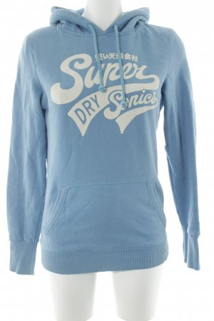 Superdry Jersey con capucha azul aciano-blanco estampado temático
