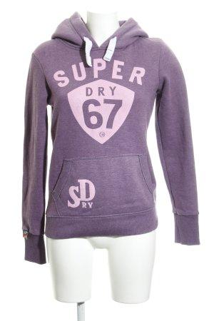 Superdry Maglione con cappuccio lilla Stampa a tema stile casual