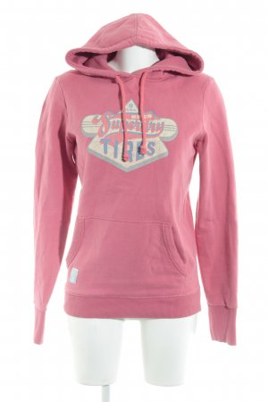 Superdry Hooded Sweater pink themed print casual look