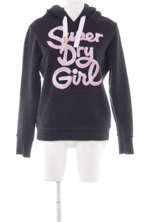 Superdry Kapuzenpullover schwarz-rosa platzierter Druck sportlicher Stil