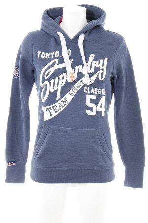 Superdry Jersey con capucha azul acero letras impresas estilo sencillo