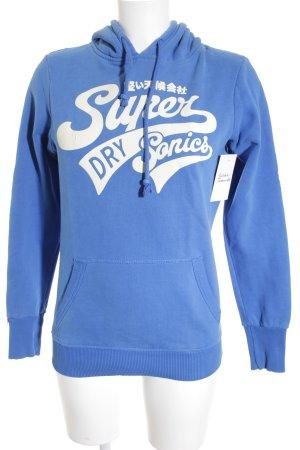 Superdry Kapuzenpullover stahlblau-weiß Schriftzug gedruckt Casual-Look