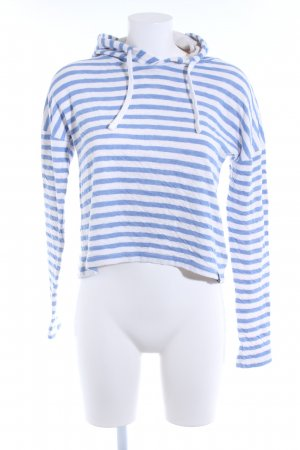 Superdry Kapuzenpullover weiß-kornblumenblau Streifenmuster Casual-Look