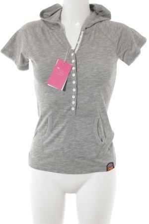 Superdry Blusa con capucha gris oscuro-blanco puro estampado a rayas look casual