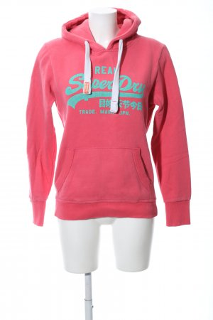 Superdry Hooded Sweatshirt pink-turquoise printed lettering casual look