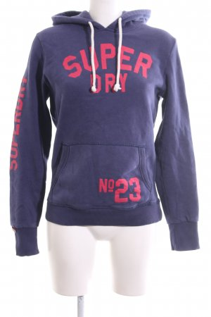 Superdry Hooded Sweatshirt blue-pink printed lettering casual look