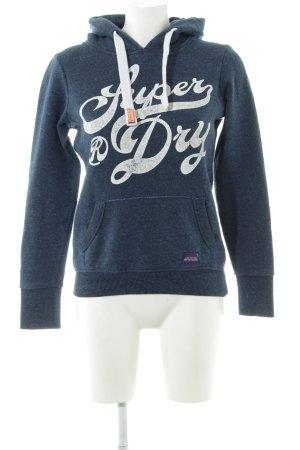 Superdry Kapuzensweatshirt blau Schriftzug gedruckt sportlicher Stil