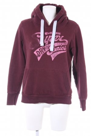 Superdry Kapuzensweatshirt bordeauxrot-pink Motivdruck Casual-Look
