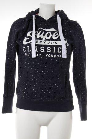 Superdry Kapuzensweatshirt dunkelblau-weiß Schriftzug gedruckt Casual-Look