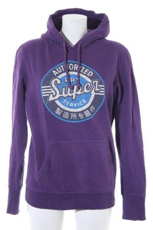 Superdry Kapuzensweatshirt dunkelviolett Schriftzug gedruckt sportlicher Stil