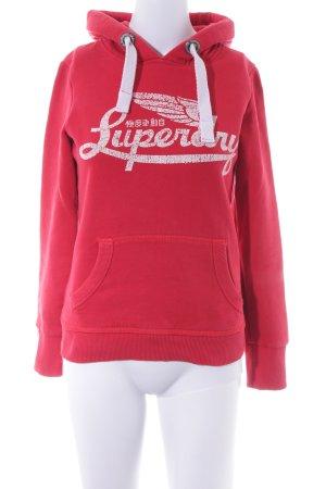 Superdry Kapuzensweatshirt rot-weiß sportlicher Stil
