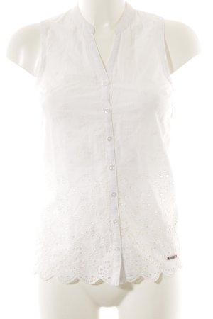 Superdry Kurzarm-Bluse weiß florales Muster klassischer Stil