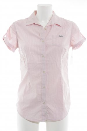 Superdry Kurzarm-Bluse weiß-rosa Karomuster Casual-Look