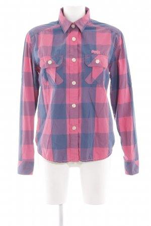 Superdry Long Sleeve Shirt blue-pink check pattern casual look