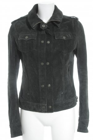 Superdry Lederjacke petrol Street-Fashion-Look