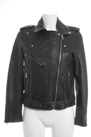 Superdry Lederjacke schwarz-silberfarben Biker-Look