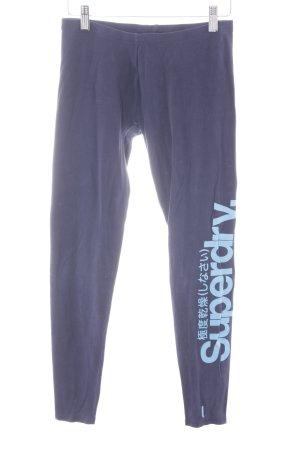 Superdry Leggings dunkelblau Schriftzug gedruckt sportlicher Stil