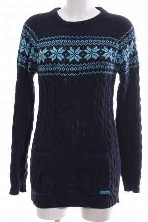 Superdry Longpullover blau-türkis grafisches Muster Casual-Look