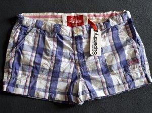 SUPERDRY NEU Shorts Bermuda Kariert Lila Weiß Größe M 38