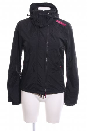 Superdry Outdoor Jacket black embroidered lettering casual look
