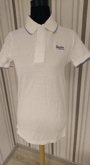 Superdry Polo bianco-blu Tessuto misto