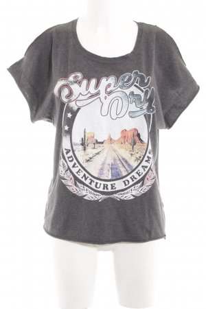 Superdry Print-Shirt silberfarben meliert Casual-Look