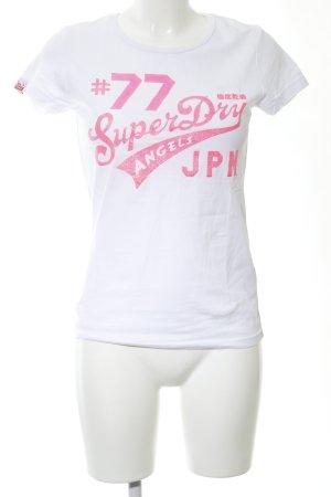 Superdry Print-Shirt weiß-pink Schriftzug gedruckt Casual-Look