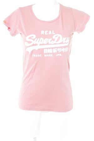 Superdry Print-Shirt apricot Schriftzug gedruckt sportlicher Stil