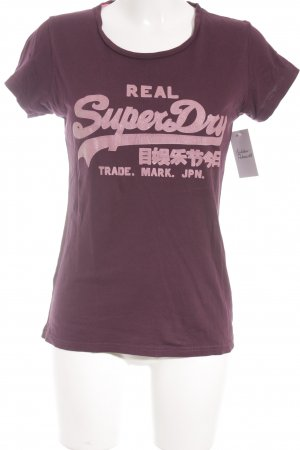 Superdry Print-Shirt dunkelviolett-blasslila Schriftzug gedruckt Glitzer-Optik