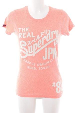 Superdry Print-Shirt lachs-creme Schriftzug gedruckt Casual-Look