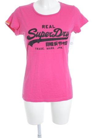 Superdry Print-Shirt pink-schwarz sportlicher Stil