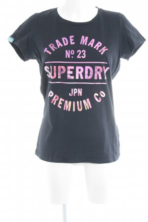 Superdry Print-Shirt schwarz-rosa Farbverlauf Casual-Look