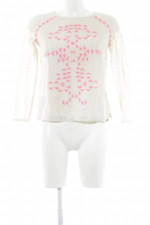 Superdry Lace Top oatmeal-neon pink ethnic pattern casual look