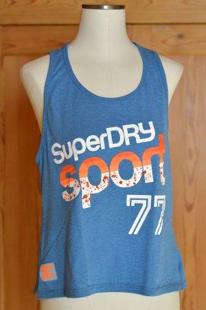 SUPERDRY Sport S/36 Blau Orange Print Trägershirt Neu Etikett Sporty Top Sportshirt