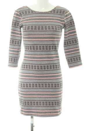 Superdry Strickkleid hellgrau grafisches Muster Casual-Look