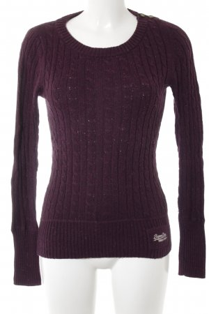 Superdry Strickpullover bordeauxrot Zopfmuster Casual-Look