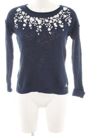 Superdry Strickpullover dunkelblau-weiß Casual-Look