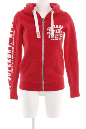 new product b8dc9 a9c39 Superdry Sweatjacke rot-weiß Motivdruck Casual-Look