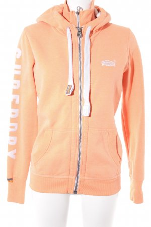 Superdry Sweatjacke neonorange-weiß Casual-Look